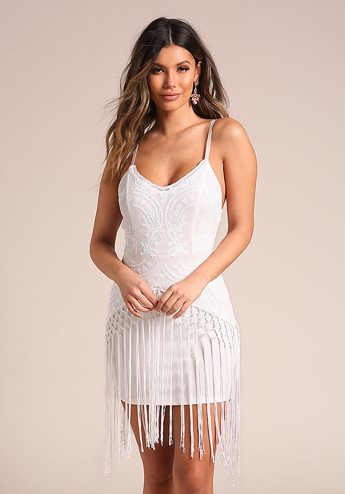 09993954a833 Shoptagr | White Sequin Tassel Layered Bodycon Dress by Love Culture