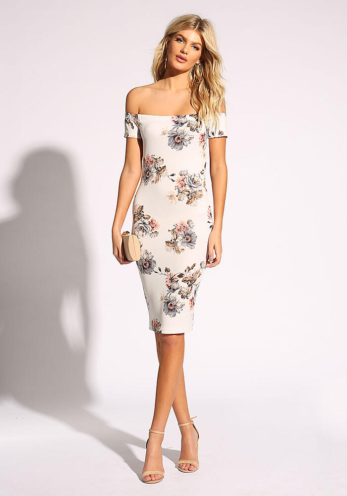 b2b8277f Junior Clothing | White Floral Off Shoulder Bodycon Dress ...