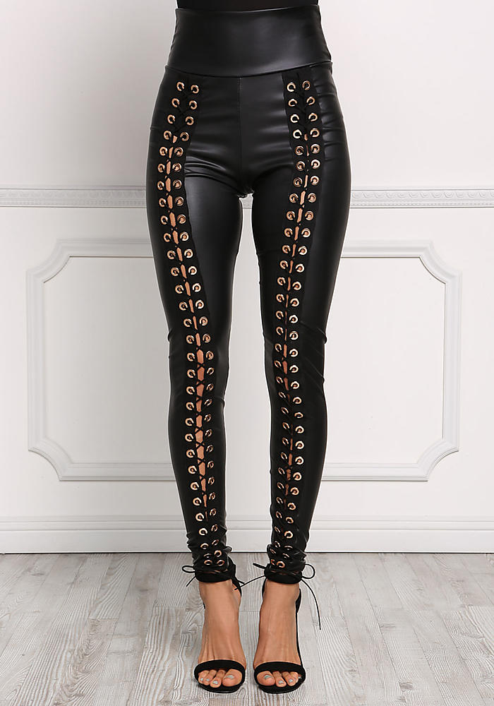 Junior Clothing Black Leatherette Front Lace Up Leggings