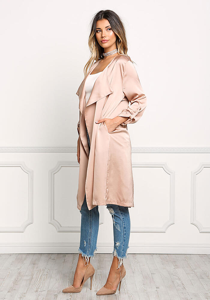 1  sc 1 st  Love Culture & Junior Clothing | Blush Satin Layered Light Duster Coat ...