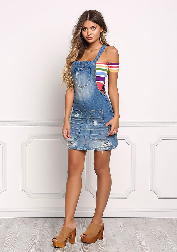 Junior Clothing Denim Distressed Dress Overalls Loveculture