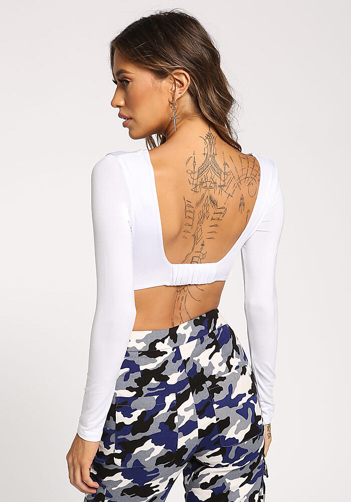66491181f2a White Low Cut Back Crop Top