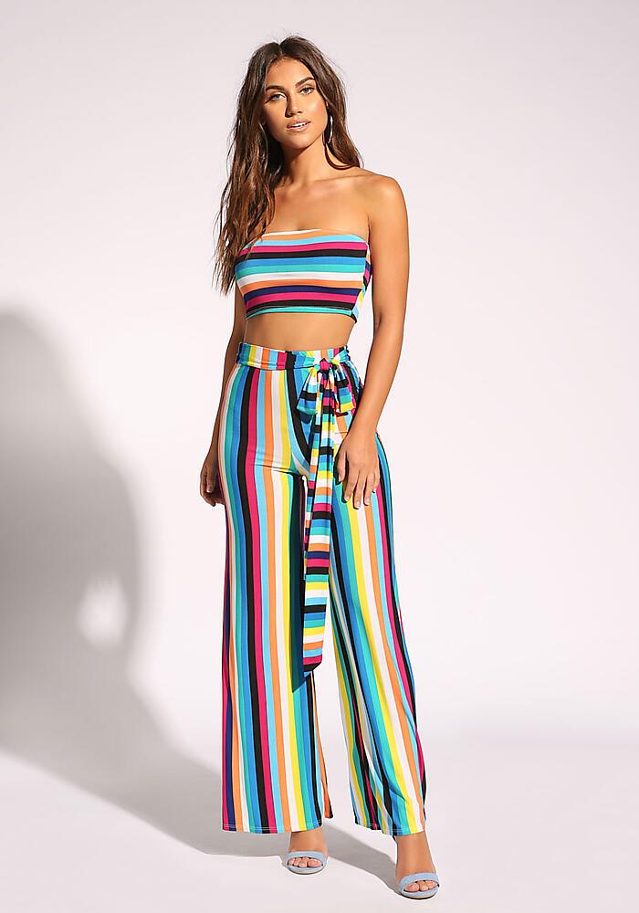 Junior Clothing | Multi Stripe Palazzo Pants | Loveculture.com | Tuggl