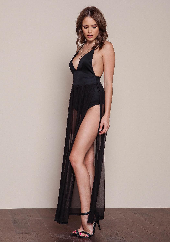 Junior Clothing Black Mesh Bodysuit Maxi Dress