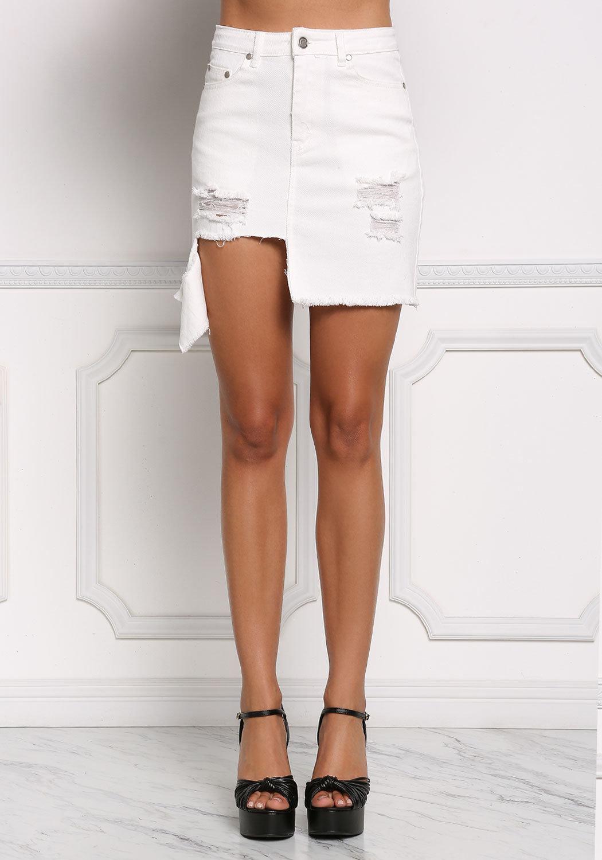 ea4c36c7ef White Asymmetrical Distressed Denim Skirt ...
